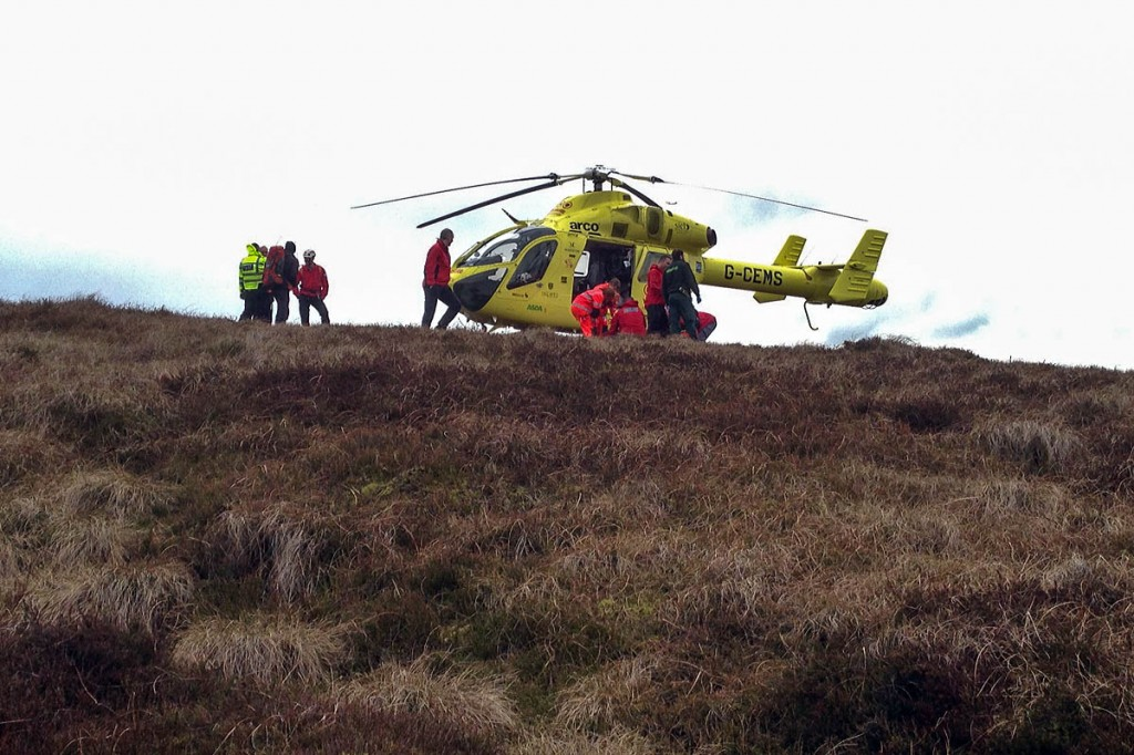 The Yorkshire Air Ambulance landed on Holme Moss. Photo: Glossop MRT