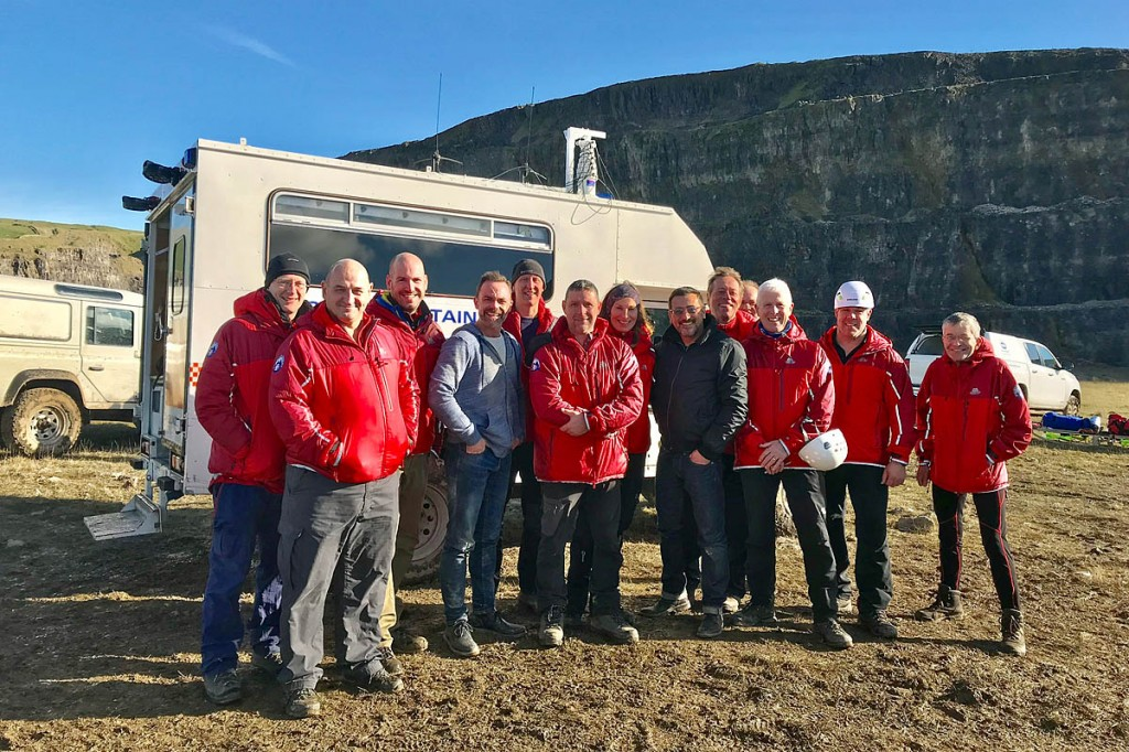 Rescuers with actor Daniel Brocklebank, centre left, and Chris Gasgoyne, centre right. Photo: Glossop MRT