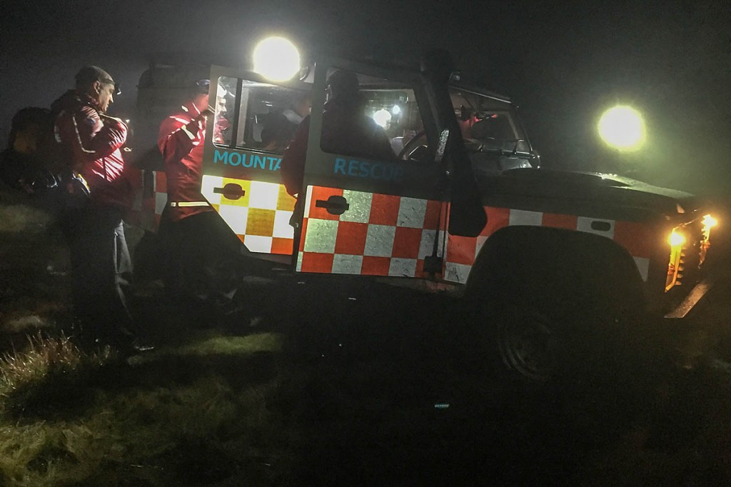 Rescuers used the team's Land Rover to bring the injured runner from the hill. Photo: Glossop MRT