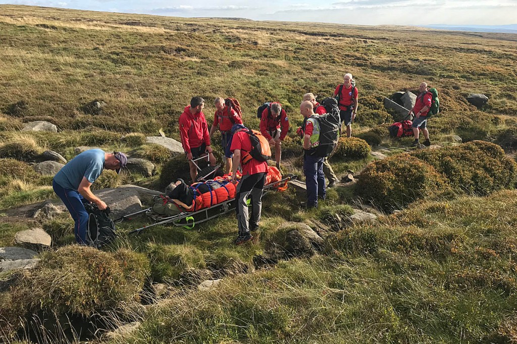 The rescue scene on Bleaklow. Photo: Glossop MRT