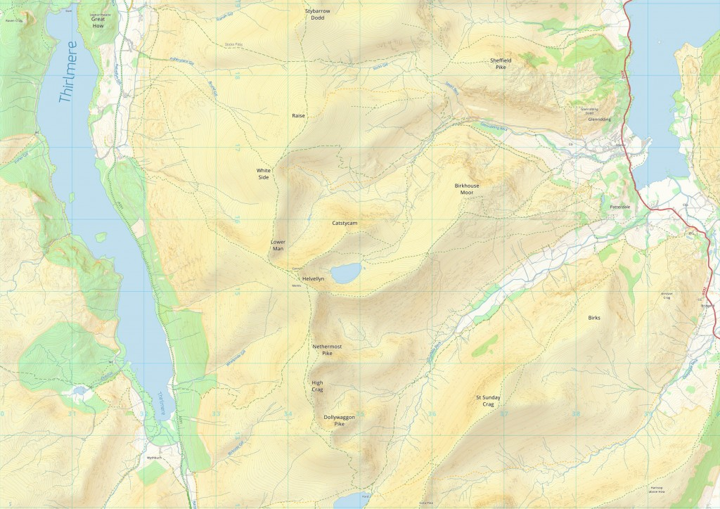 The current development version of grough map showing the Helvellyn area
