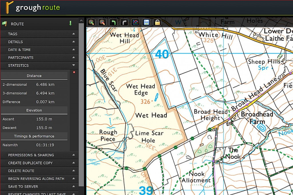 Grough route enables route planning using Ordnance Survey mapping