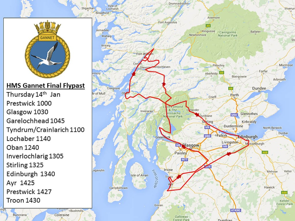 The planned route of Thursday's fly-past