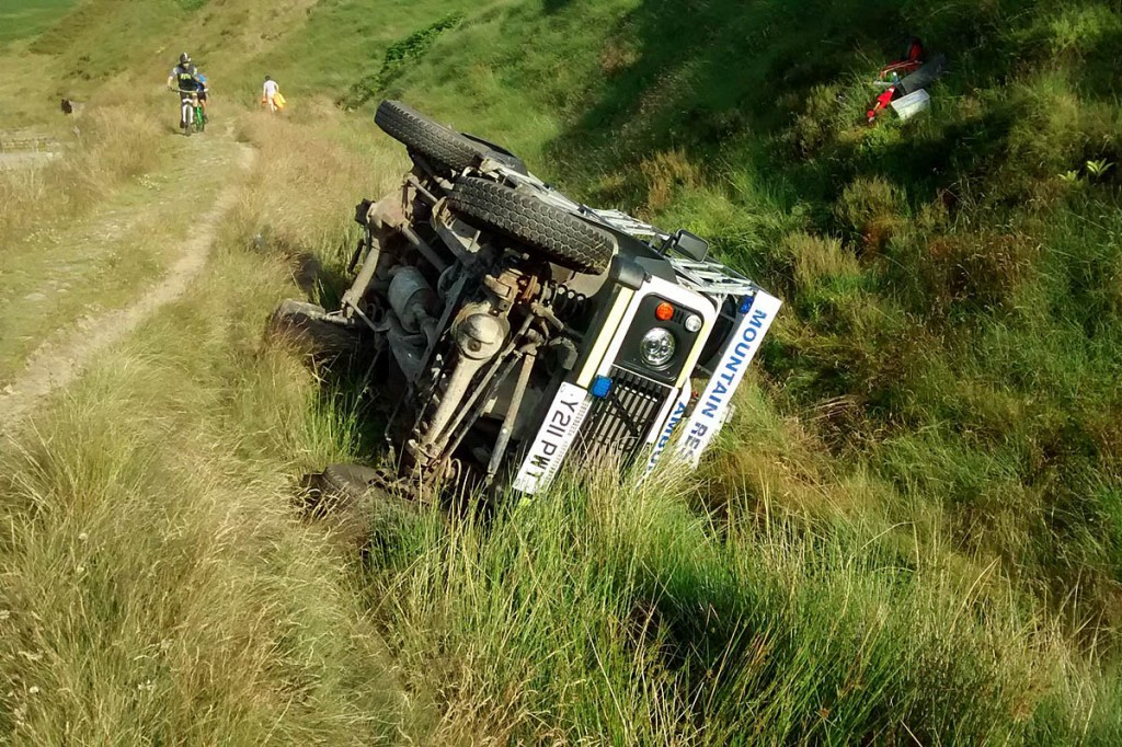 The Land Rover rolled into a drainage gully. Photo: Holme Valley MRT