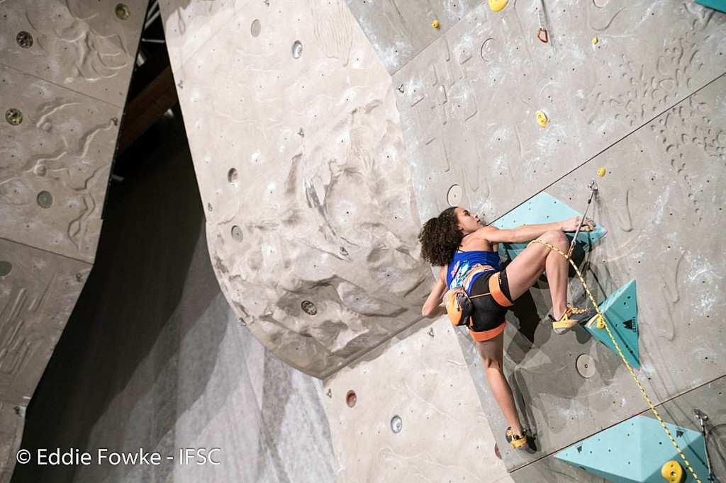 Molly Thompson-Smith in action in Kranj. Photo: Eddie Fowke/IFSC