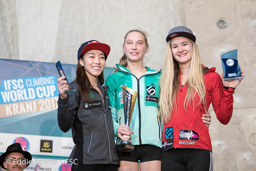 Shauna Coxsey, right, with Janja Garnbret, centre, and Jain Kim. Photo: Eddie Fowke/IFSC