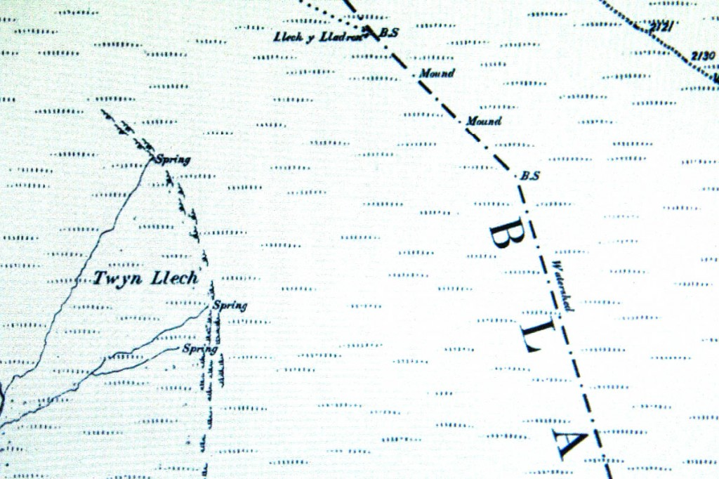 A detail from the six-inch map, with the word 'watershed' marked against the border