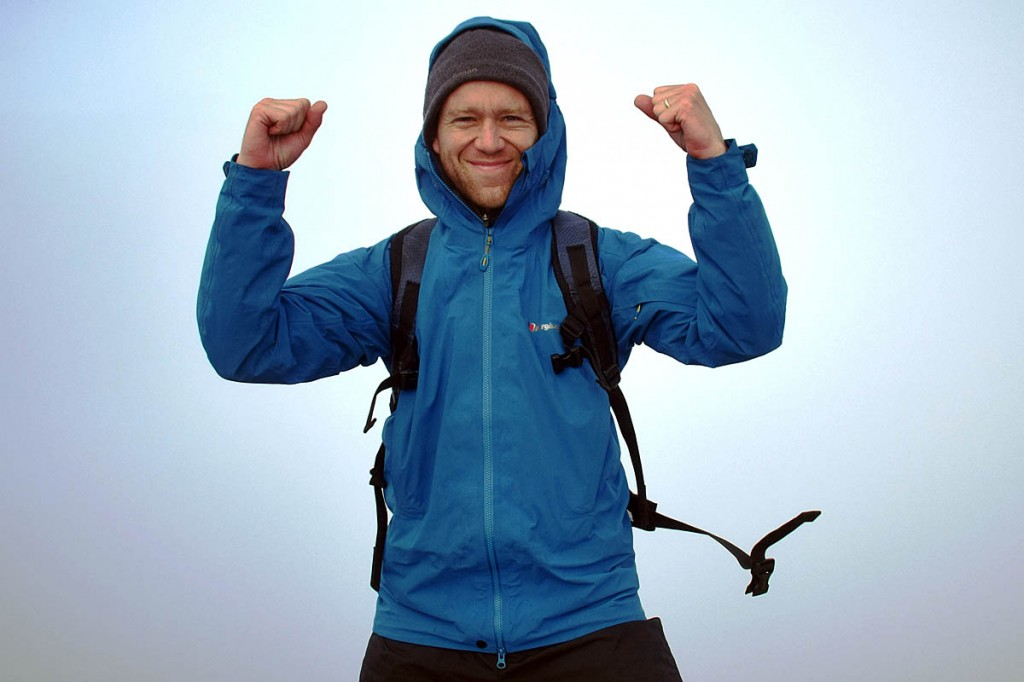 James Forrest celebrates his final ascent on Scafell Pike