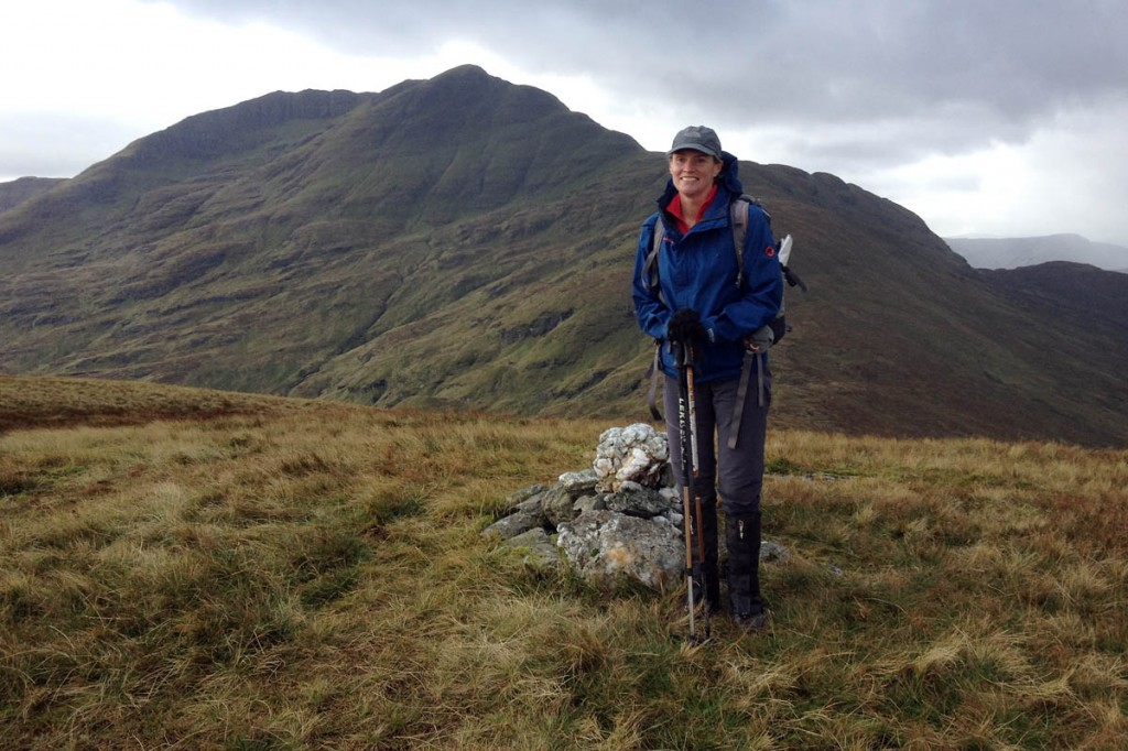 Jen Hatfield on the summit of her final marilyn, Cruinn a' Bheinn