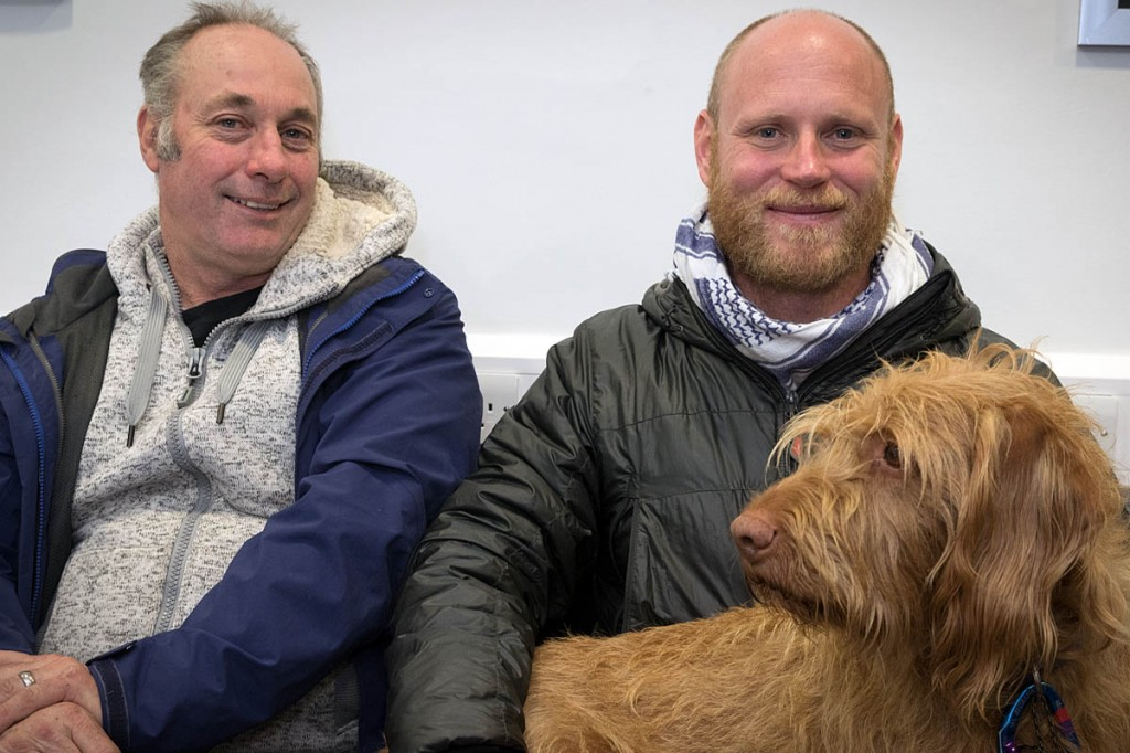 John France, left, and Joe Beaumont with his dog Bodhi. Photo: Bob Smith/grough