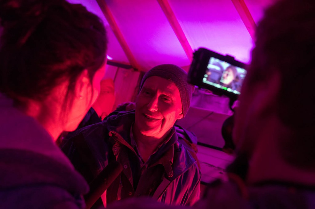 Alan Hinkes is interviewed at the Lowe Alpine #MakeWinterCount  event. Photo: Bob Smith/grough