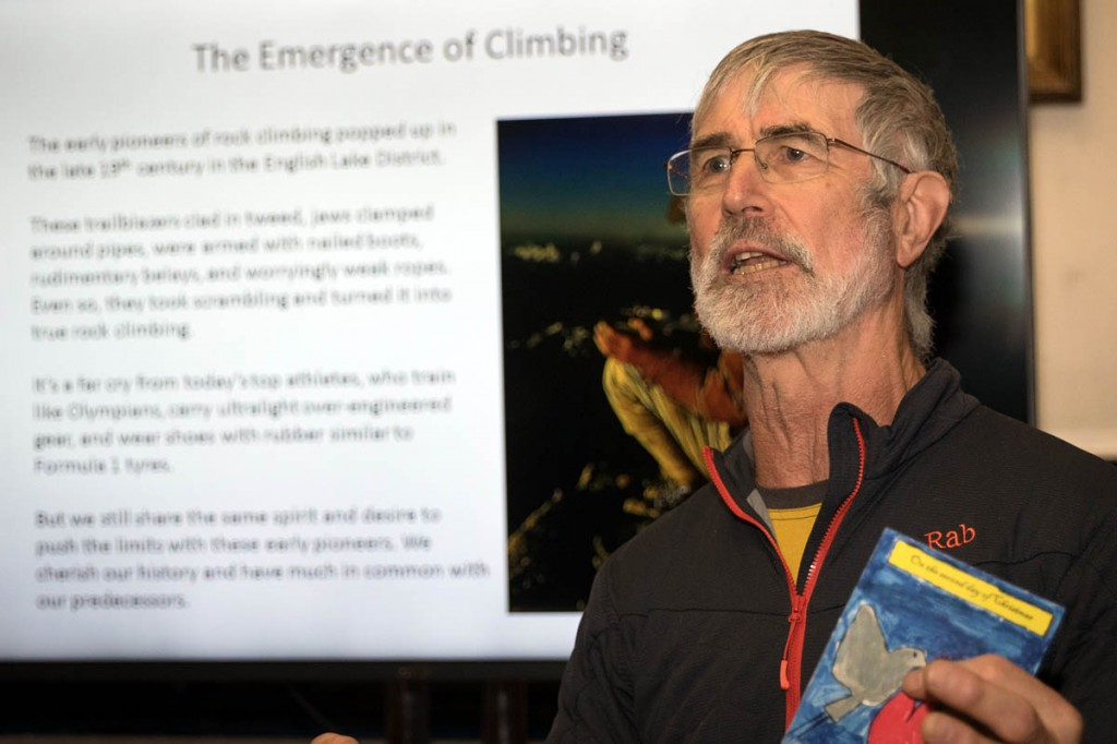 Rab Carrington explains plans for the BMC's Gallery of Mountaineering. Photo: Bob Smith/grough