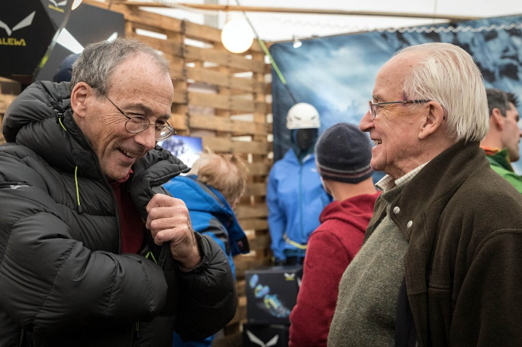 You never know who you might bump into at the festival. Everest summiteers Stephen Venables, left, and Doug Scott in the Base Camp tent. Photo: Bob Smith/grough