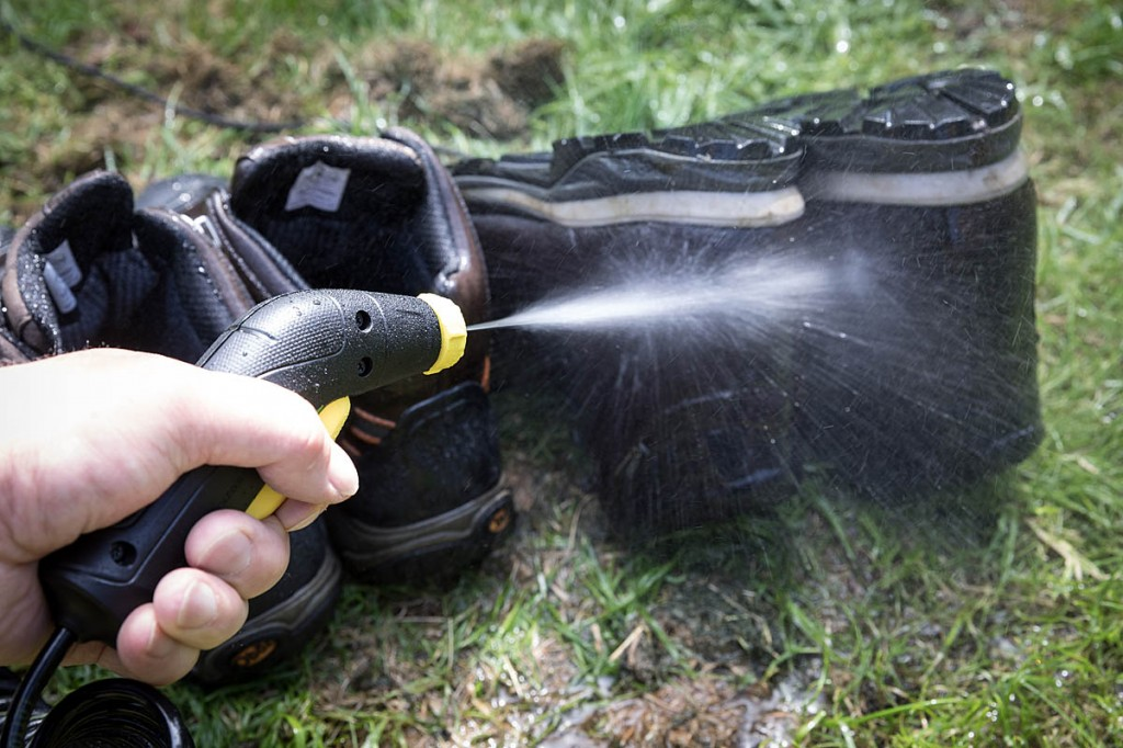The Portable Cleaner holds enough water to rinse off a couple of pairs of boots. Photo: Bob Smith/grough