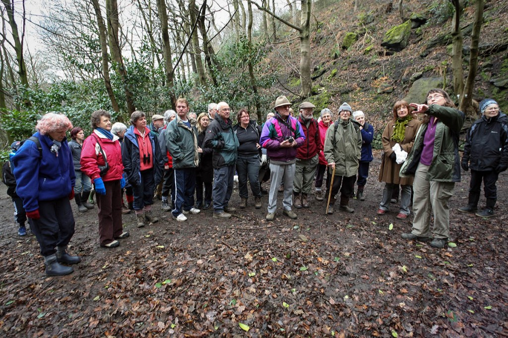 Kate Ashbrook, front third from left, was at the launch of the first Walkers Are Welcome scheme in Hebden Bridge in 2007. Photo: Bob Smith/grough