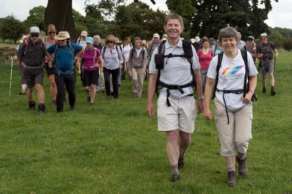 John Sparshatt and Kate Ashbrook are joined by fellow walkers inaugurating the Welcome Way near Otley. Photo: Bob Smith/grough