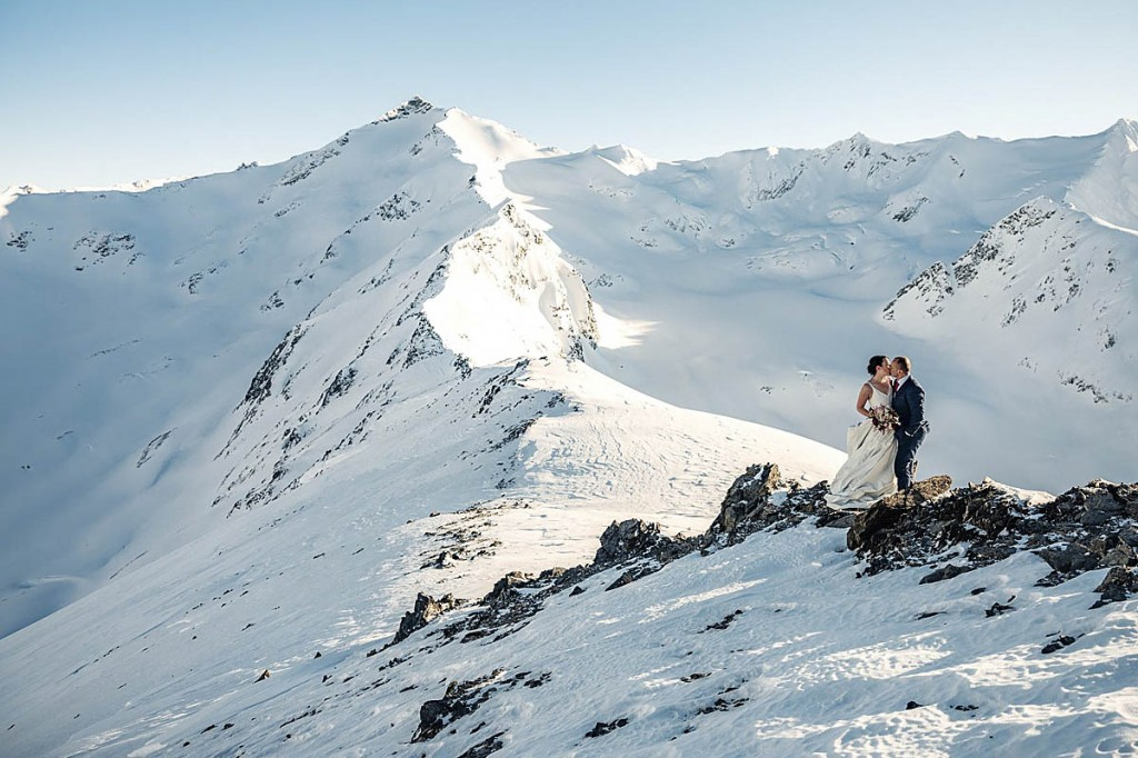 The newlyweds in Chugach State Park. Photo: Mizzi Taner