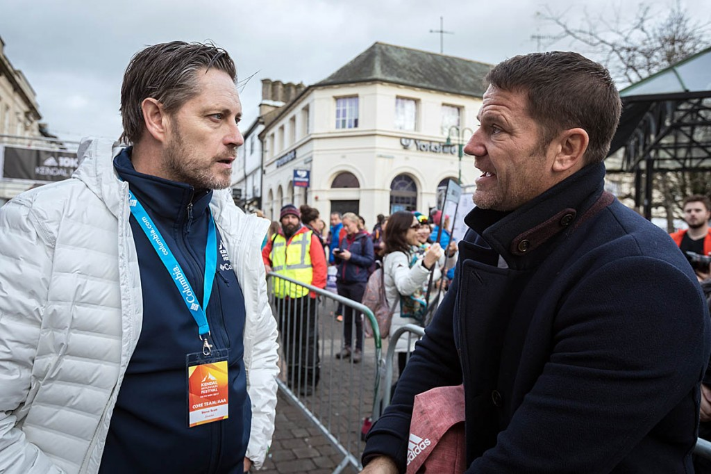 Kendal Mountain Festival director Steve Scott, left, with Steve Backshall at last year's event. Photo: Bob Smith/grough
