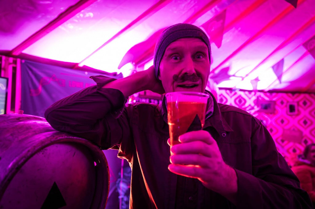 Mountaineer Alan Hinkes samples the beer while sporting a Lowe Alpine moustache. Photo: Bob Smith/grough