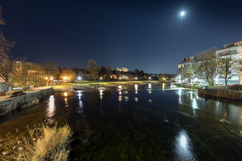 Away from the festival hurly-burly, the River Kent flows serenely through the town, with Kendal Castle on the skyline. Photo: Bob Smith/grough