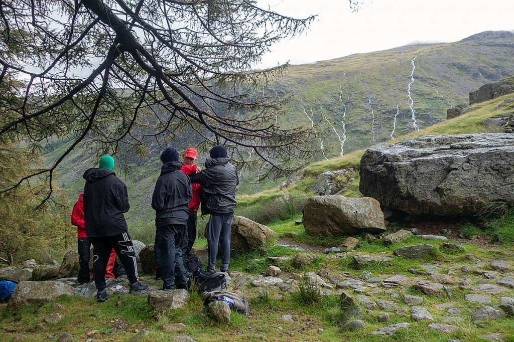 The youngsters were met on the Sty Head path. Photo: Keswick MRT