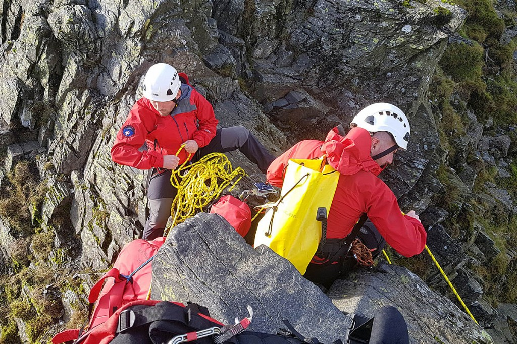 Rescue team members on Sharp Edge during the incident. Photo: Keswick MRT