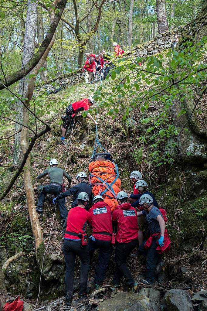 The injured walker is hauled up the side of the gill. Photo: Keswick MRT
