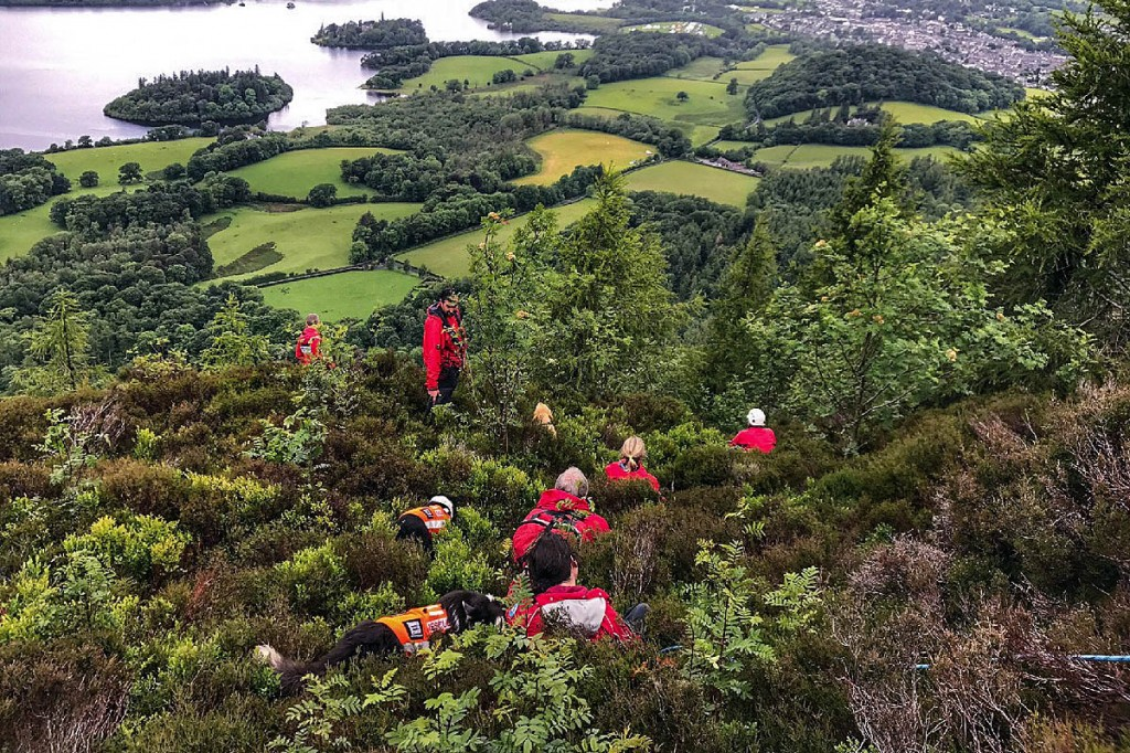 The team rigged up a belay system to bring the man to safety. Photo: Keswick MRT