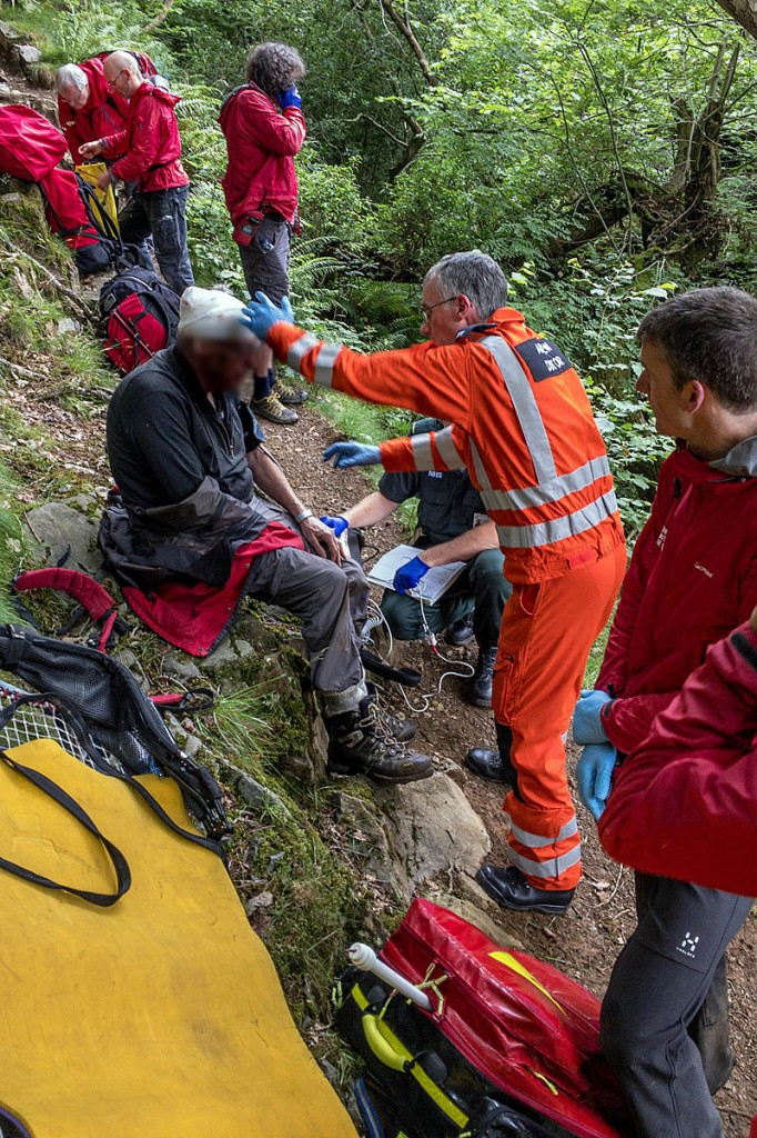 The injured walker is treated in the gill. Photo: Keswick MRT