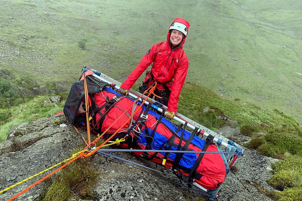 The injured climber was hauled up the crag in a stretcher. Photo: Keswick MRT