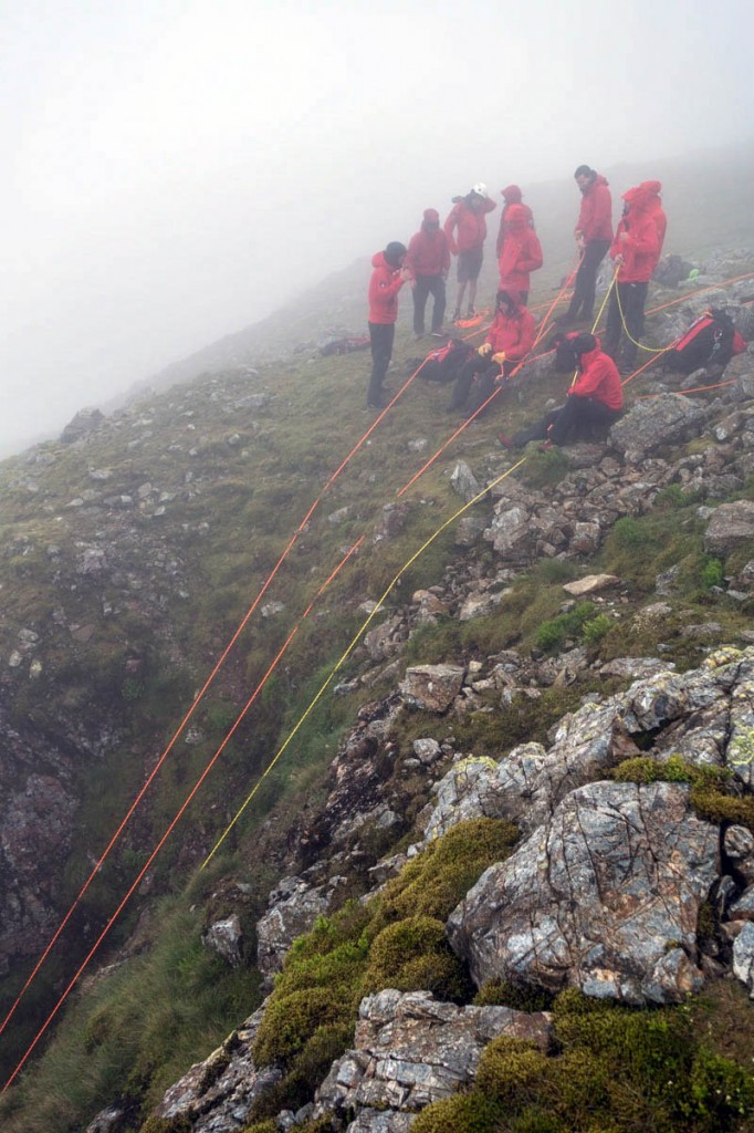 Rescuers at the top of the gully on Great End. Photo: Keswick MRT