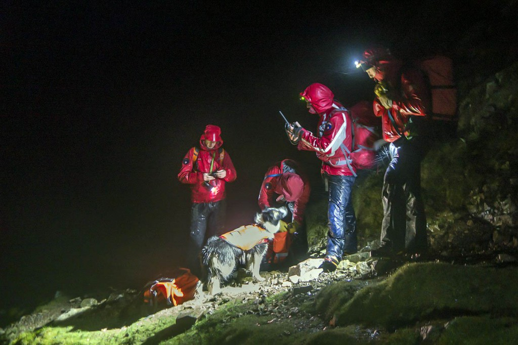 Rescuers on the fell during the search for the missing runner. Photo: Keswick MRT