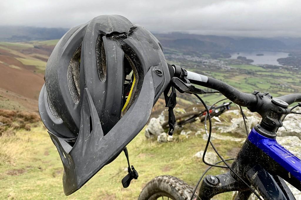 The rider's damaged helmet. Photo: Keswick MRT