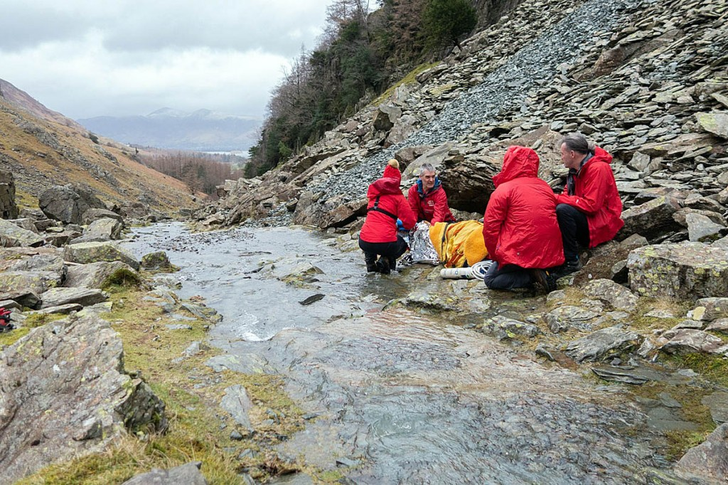 Rescuers at the first incident on the flanks of Castle Crag. Photo: Keswick MRT