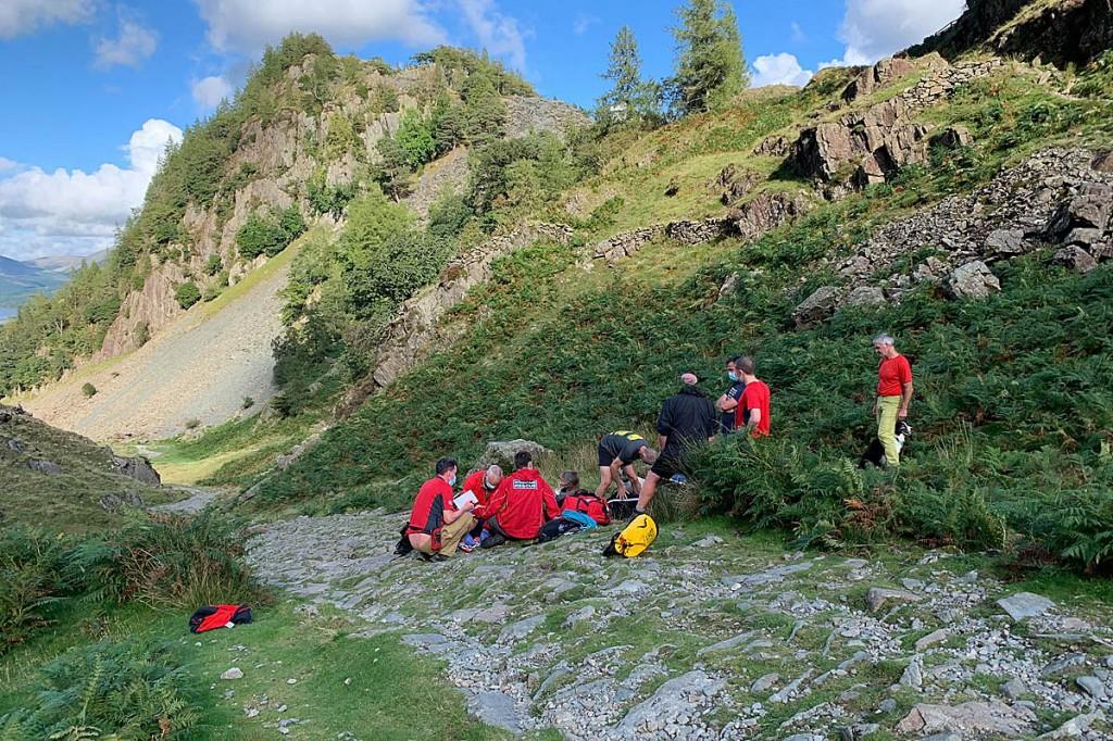 The rescue scene on Castle Crag. Photo: Keswick MRT