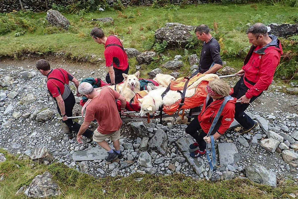 Lexi and Shyler are stretchered from the fell. Photo: Keswick MRT