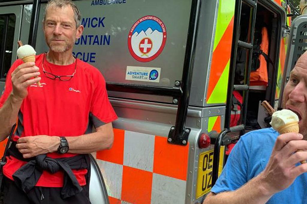 Rescuers enjoy their post-incident ice-creams. Photo: Keswick MRT