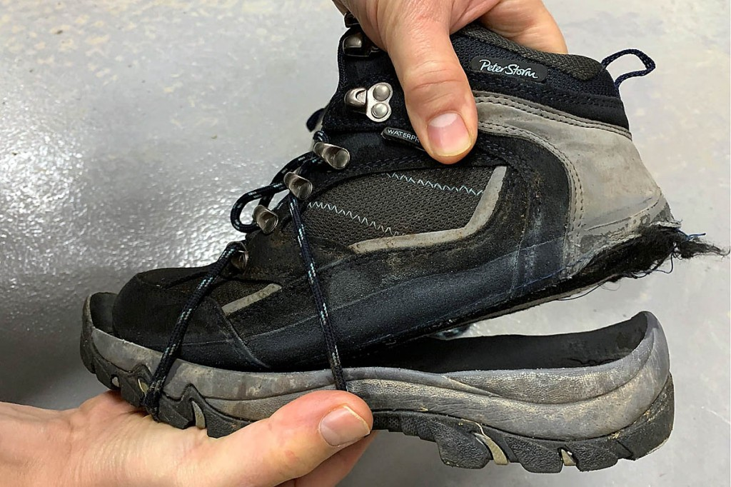 The walker's boot's upper had separated from its sole. Photo: Keswick Mountain Rescue Team