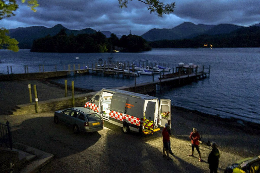 The lakeside scene during the rescue. Photo: Keswick MRT