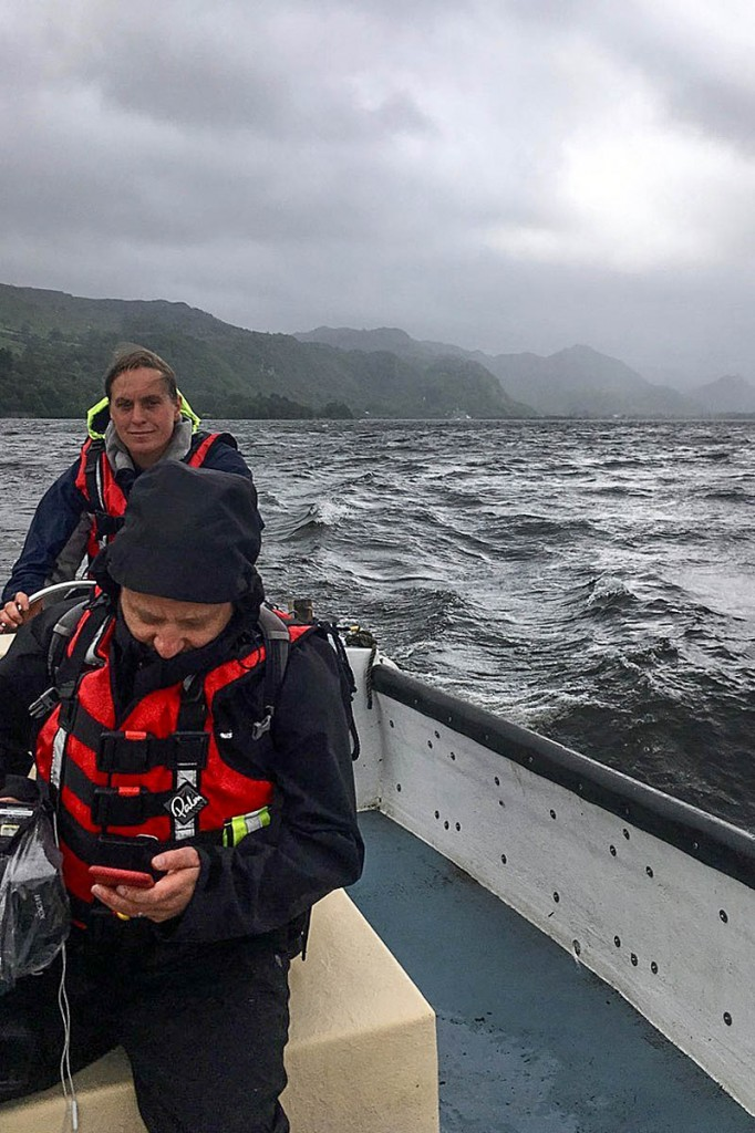 Rescue team members in action on Derwent Water. Photo: Keswick MRT