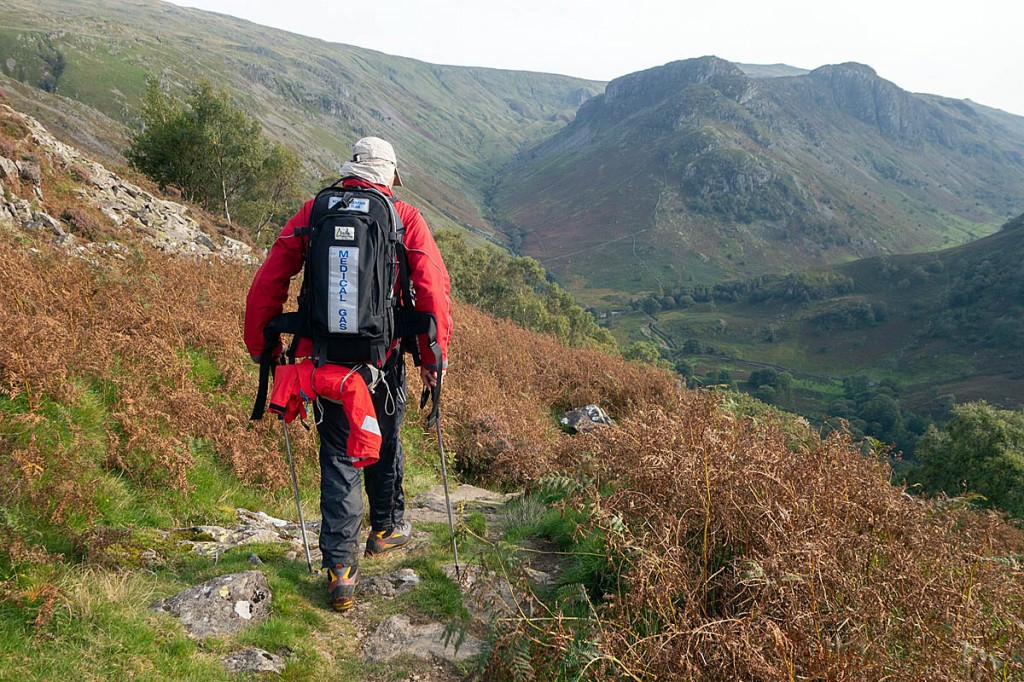 A team member en route to the rescue site above Stonethwaite. Photo: Keswick MRT