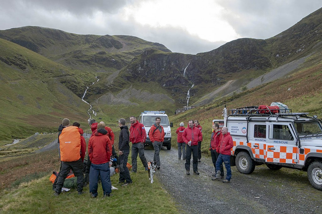 The Duke of Edinburgh's Award walkers were met near Force Crag Mine. Photo: Keswick MRT