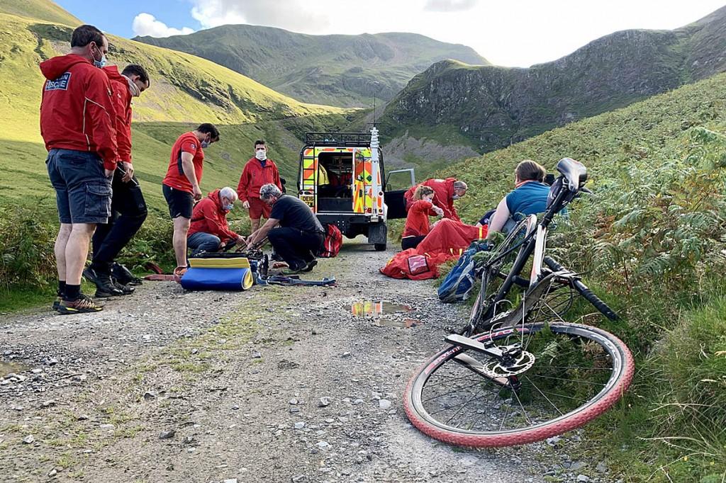The rescue scene near Force Crag. Photo: Keswick MRT