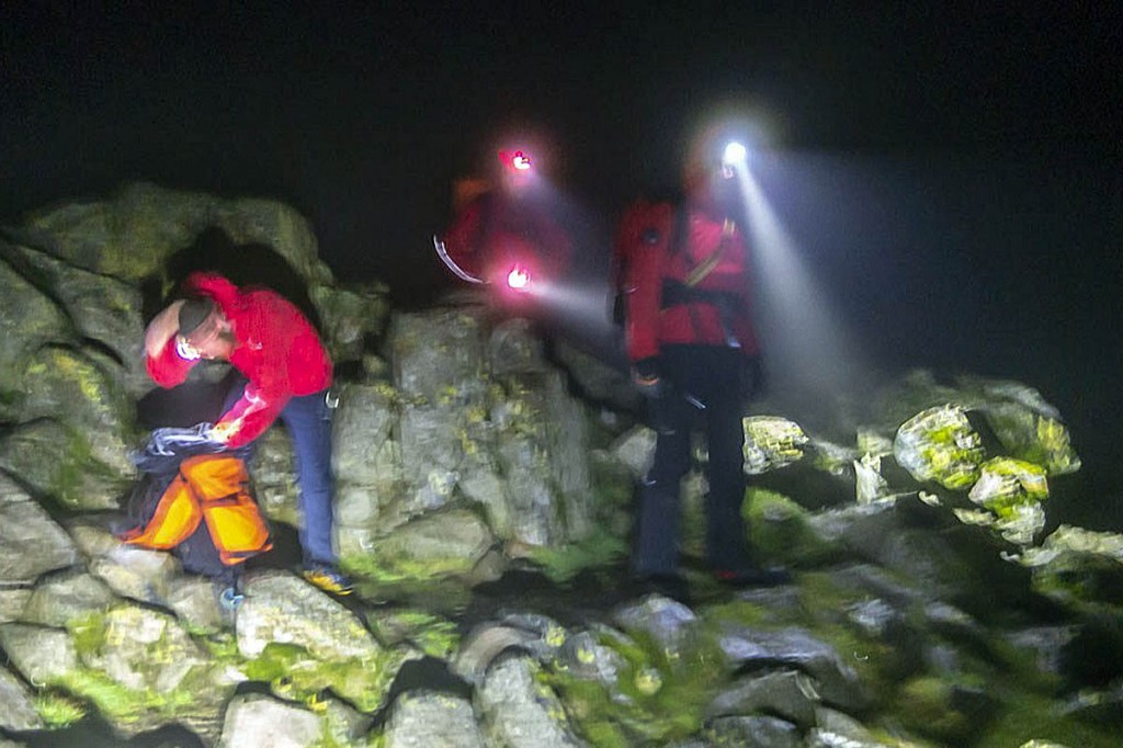 Rescuers search Great Gable during the callout. Photo: Keswick MRT