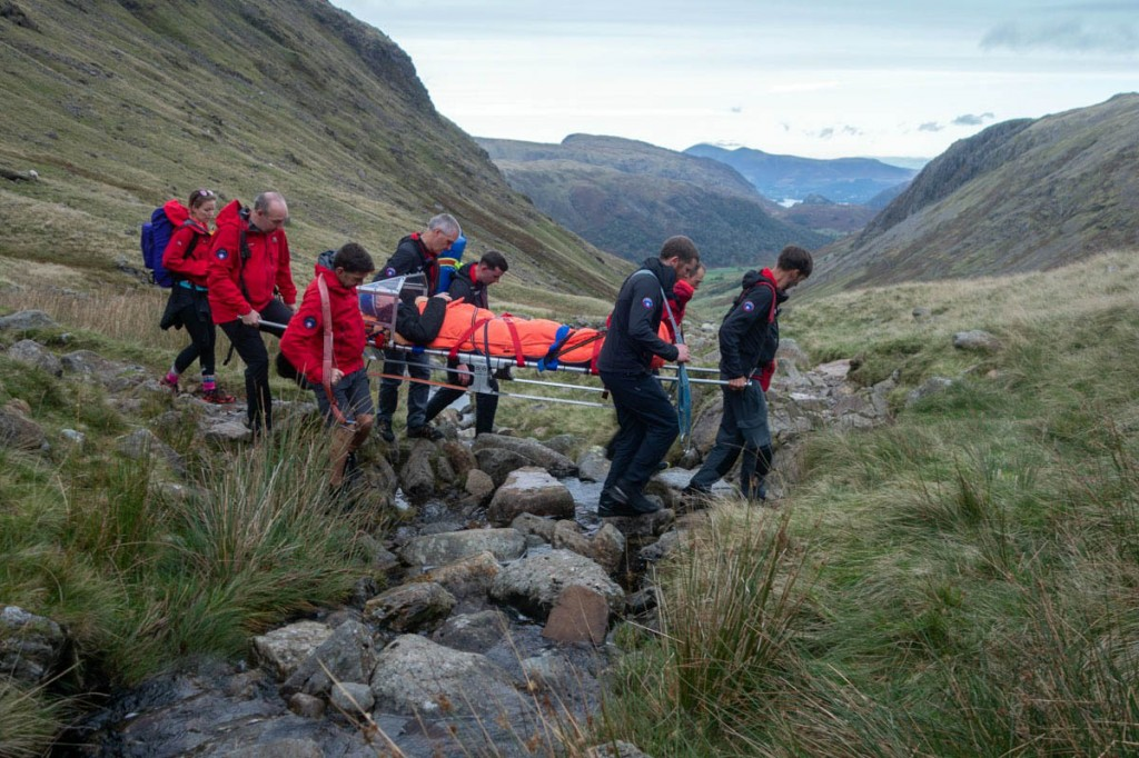 The injured man is stretchered from the fell after the scrambling incident. Photo: Keswick MRT