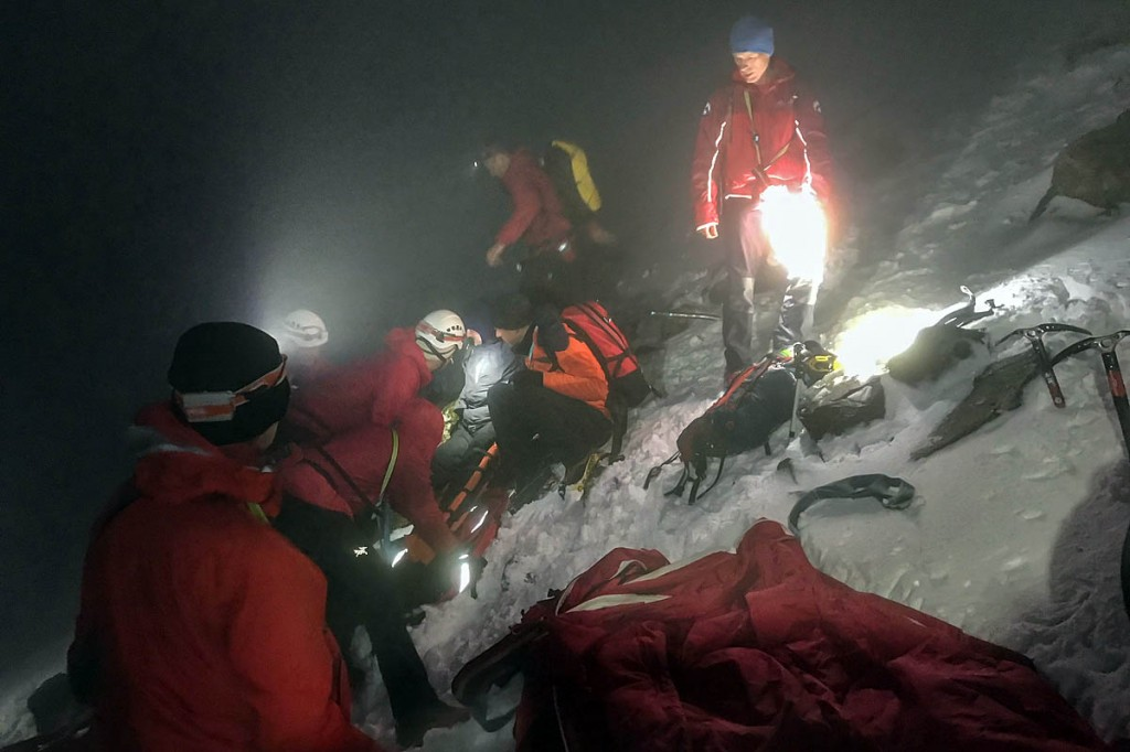 Rescuers at the scene at the foot of Great End. Photo: Keswick MRT