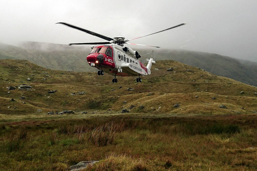 The Coastguard helicopter airlifted the woman to hospital. Photo: Keswick MRT