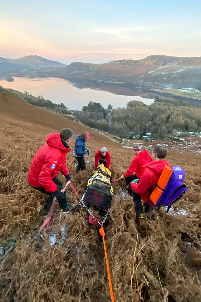 The injured walker is stretchered from Hause Gate. Photo: Keswick MRT