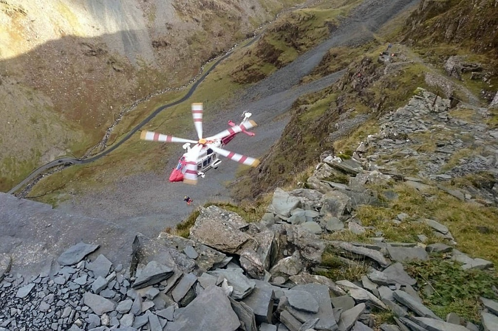 The Coastguard helicopter at the incident. Photo: Keswick MRT
