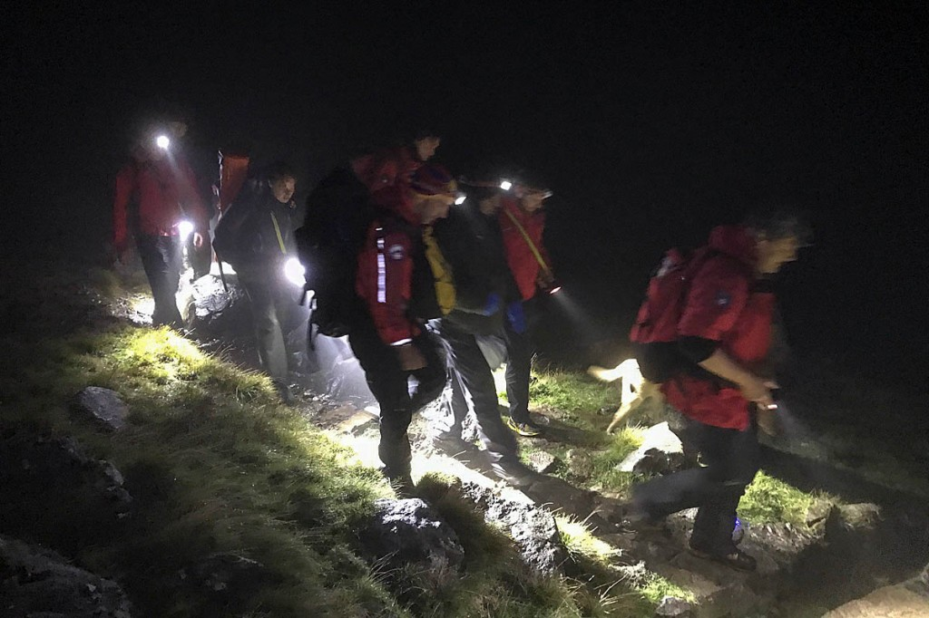 Team members during the Sty Head incident. Photo: Keswick MRT